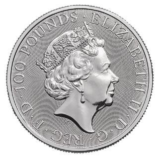 1 oz Queen's Beast Grifone di Edoardo III in Platino