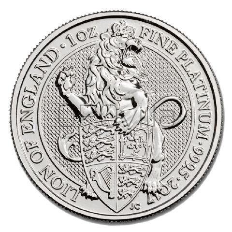 1 oz Queen's Beasts Leone d'Inghilterra in Platino (2017)