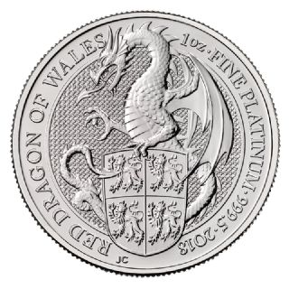 1 oz Queen's Beasts Drago rosso del Galles in Platino