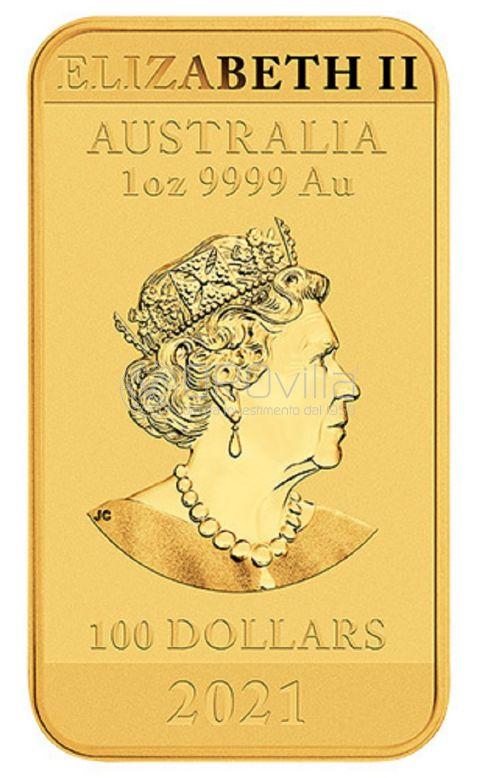 100 Dollari Drago Lunare - Moneta rettangolare australiana da 1 oz (2021)