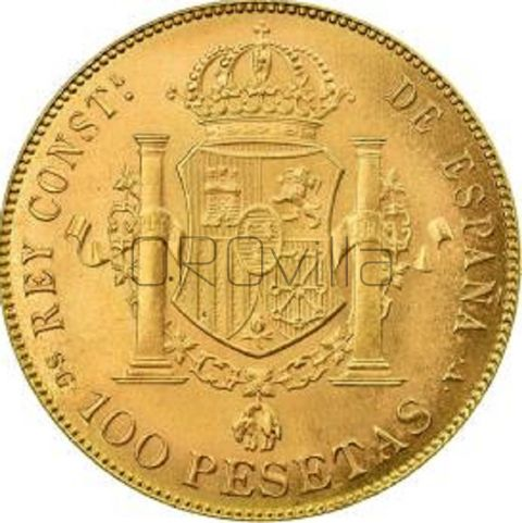 100 Pesetas Alfonso XIII in oro rosso