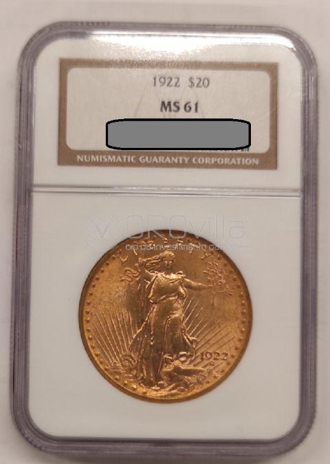 20 Dollari Saint Gaudens - Sigillo NGC - MS61 - 1922