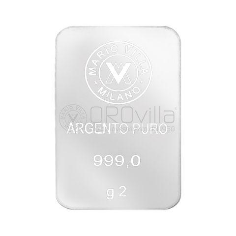 Lingotto laserato in argento 2 grammi