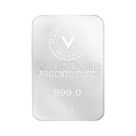Lingotto laserato in argento 3 grammi