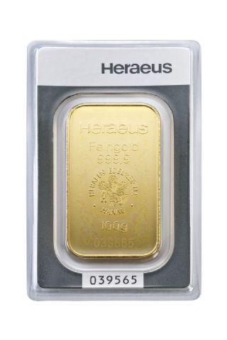 Lingotto oro 100 grammi Heraeus