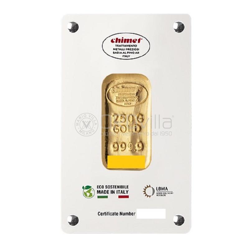 Lingotto oro 250 gr LBMA Chimet