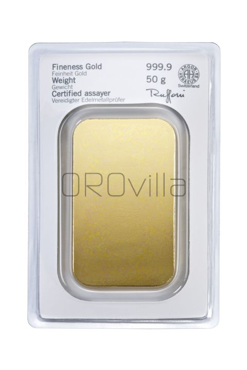 Lingotto oro 50 gr Heraeus
