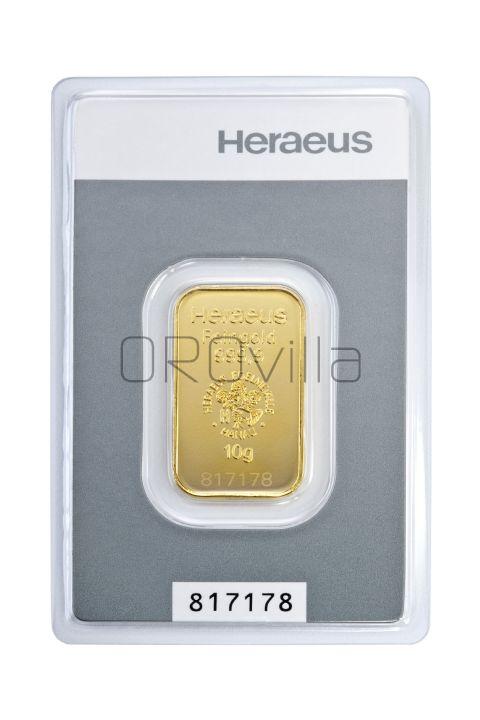 Lingotto oro da 10 grammi Heraeus Kinebar®