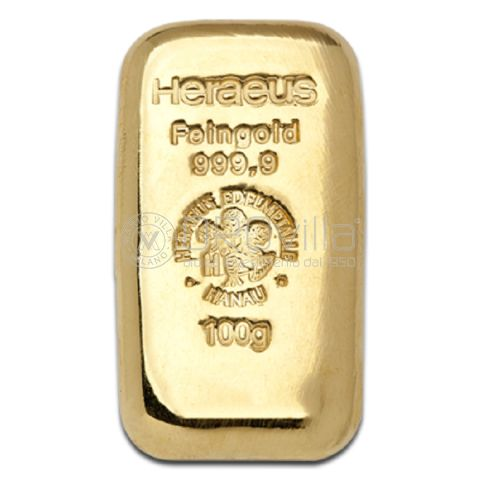 Lingotto in oro da fusione 100 grammi Heraeus