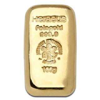 Lingotto oro fuso 100 grammi Heraeus