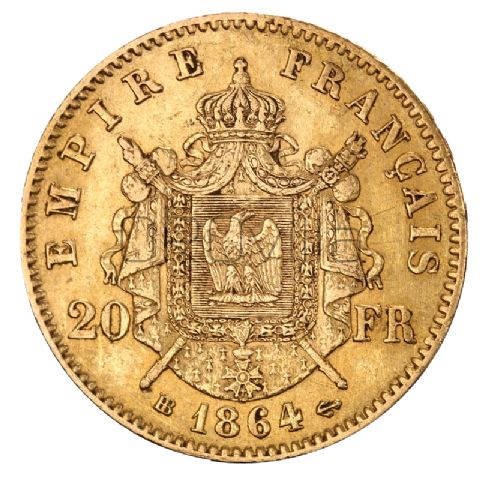 Marengo 20 Franchi Napoleone III corona d'alloro